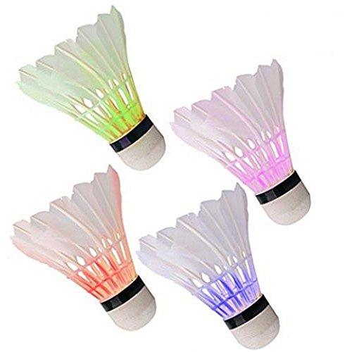 CYRISR Juego de bádminton con 4 ledes de colores, plumas de ganso, bádminton, iluminación de pelotas de bádminton multicolor, para actividades deportivas al aire libre en interiores