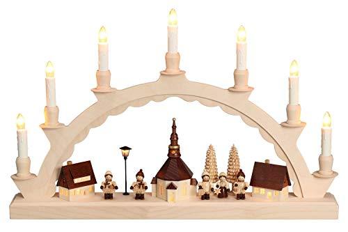 Nestler-Seiffen Schwibbogen Seiffener Dorf mit Romy Thiel Kinder, komplett elektrisch beleuchtet mit Langen Kerzen, Original Seiffen Lichterbogen