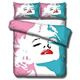 3D Bed Set Marilyn Monroe Printed Quilt Cover 3 Pieces Soft Comforter Cover with 2 Pillow Shams Microfiber Bedding Duvet Cover with Zipper Closure (Queen)