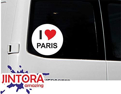 JINTORA - Autocollant/Voiture Autocollant - I Love Paris - JDM/Die Cut/OEM - Nom de la Ville - Fenêtre arrière - Voiture - portatif - extérieur, Rond, Taille: 80mm