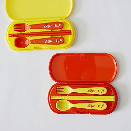 プライムナカムラニッキョロカトラリートリオセット(YE)日本製ふた付き幼稚園保育園箸こども子供軽量スプーンフォークセット(ケース:H8.5×18.2×1.8cm)