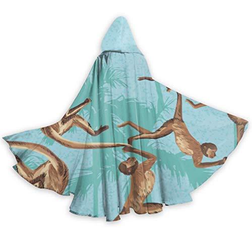 ALALAL Ethnische Mode niedlich bunt mongolischen Kap Umhang Kleid Kapuze Umhang Mantel 59inch für Weihnachten Halloween Cosplay Kostüme