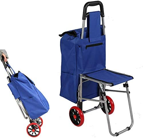 Karmas Product Seat Cart Travel Bag Three in One Multi Function Travel Trolley Shopping Travel product image