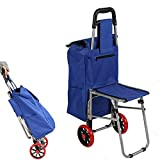 Karmas Product Seat Cart Travel Bag Three in One Multi Function Travel Trolley Shopping Travel Essential Artifact