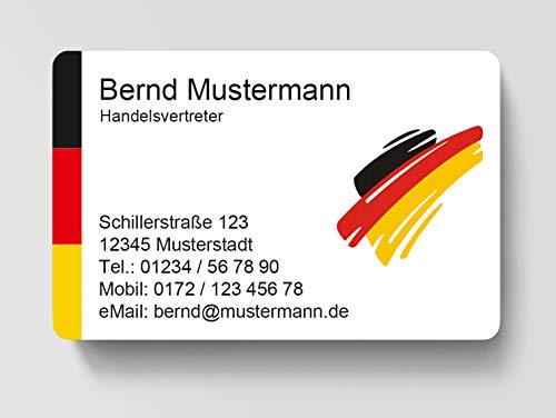 100 Visitenkarten, laminiert, 85 x 55 mm, inkl. Kartenspender - Deutschland