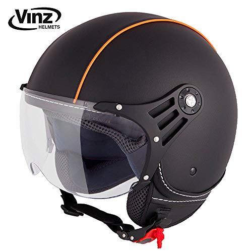 Vinz Motorradhelm Rollerhelm Jethelm Jet Helm Fashionhelm Schwarz Orange Lederhelm in Gr. XS-XL | Helm mit Visier | ECE zertifiziert (S)