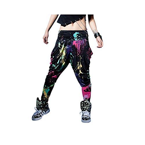 LOBZON Candy Colors Casual Doodle Harem Hip Hop Dance Pants
