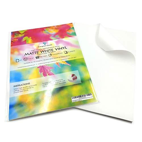 Hochwertiger Vinyl-Aufkleber, 20Blatt, weiß, wasserdicht, A4,Selbstklebend, matt, mit Inkjet bedruckbar