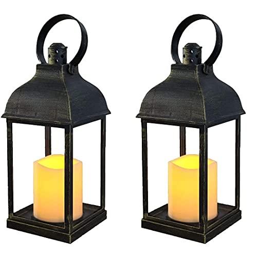 Candeliere, lanterne decorative con candele senza fiamma, timer per interni ed esterni, con batteria 3AAA in plastica con sottotoni in bronzo (2 pezzi quadrati) decorazione per il soggiorno