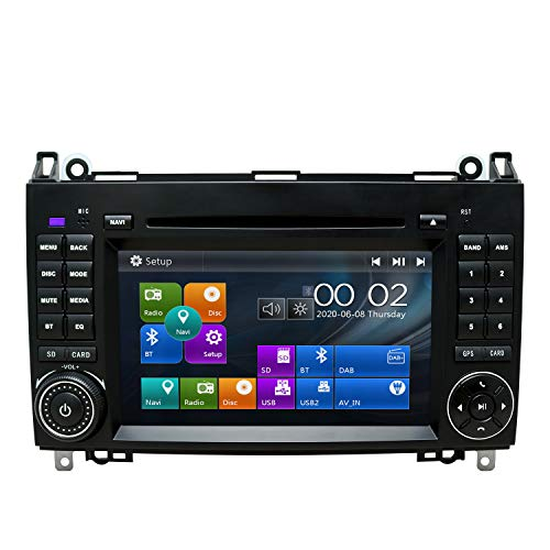 SWTNVIN Autoradio passend für Mercedes Benz B200 A B V Class Viano Vito Sprinter VW Crafter VW LT3 7 Zoll GPS-Navigator Doppel-DIN-Haupteinheit unterstützt USB RDS Video Bluetooth SWC DVD Player