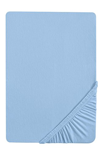 #22 biberna Jersey-Stretch Spannbettlaken, Spannbetttuch, Bettlaken, 90x190 – 100x200 cm, Eisblau