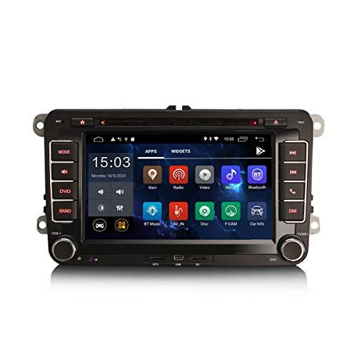 ERISIN 7 Pulgadas Android 10.0 Autoradio para VW Passat Golf Polo Touran Seat Caddy Tiguan Soporte GPS Sat Nav Carplay Android Auto Bluetooth A2DP DVB-T WiFi 4G Dab+ DSP Mirror Link 2GB RAM+16GB ROM