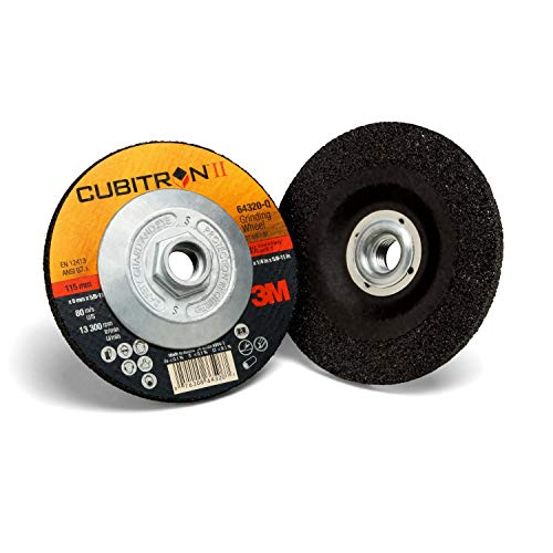 "3M Cubitron II Depressed Center Grinding Wheel - J-Weight Adhesive Backed Disc - Type 27 Premium Metal Grinding Wheel - 4.5"" x .25"" x 5/8-11 Thread - 64320"