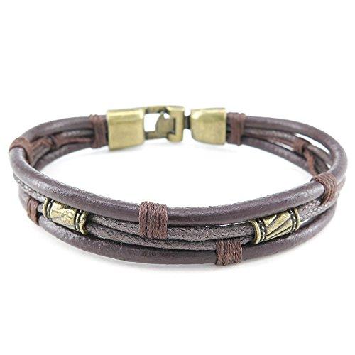 KONOV Joyería Pulsera de hombre mujer, estilo retro trenzado pulsera, cuero aleación, color marrón oro (con bolsa de regalo)