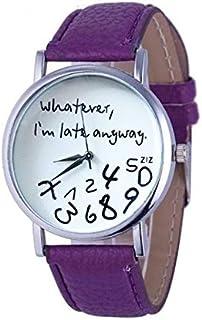 Smart Watch 2 PCS Alphabet Number Pattern Leather Strap Watch(Black) (Color : Purple)