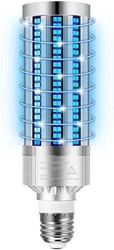 60 W LED kiemdodende UV-lamp met afstandsbediening en timer, UV/C minimum 30/60 antibacteriële lamp Draagbare UV-kiemdodende basis E26 / E27 [Energie-efficiëntieklasse A +++] (Standard)