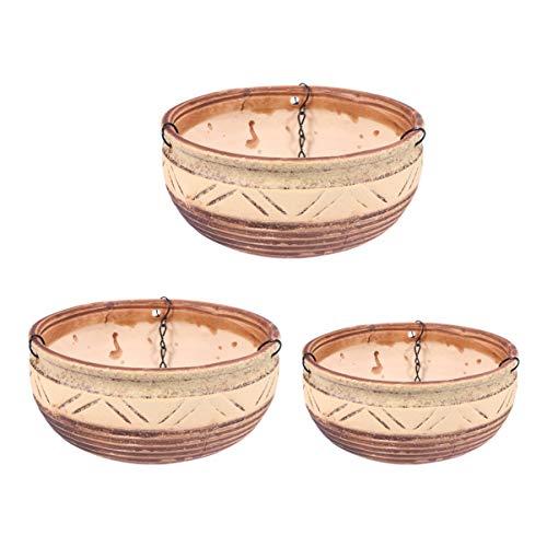 Cabilock 1 Ensemble / 3 Pcs en Céramique Suspendu Jardinière Intérieur en Plein Air en Porcelaine Rond Fleur Plante Pot Auto-Arrosage Suspendu Panier pour Herbes Fougères Ivy Ramper