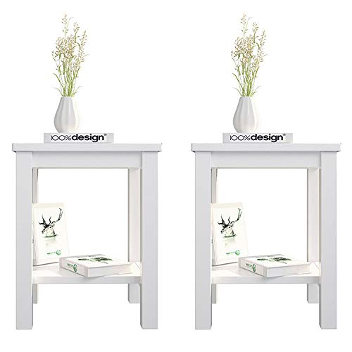 Bedside Tables Set of 2, Fityou White Side Table with Shelf, Small Wooden Cabinet Nightstand for Bedroom, Living Room End Tables, Sofa Table for Lamp/Coffee/Telephone, 32 x 38 x 47 CM