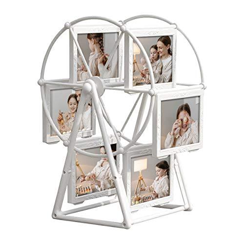 Sadubty Drehbarer Riesenrad Bilderrahmen, Weißer Tisch Fotorahmen für Familienfotos