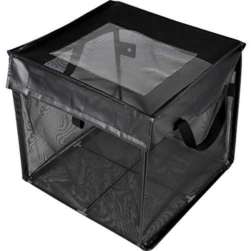 ACMETOP ゴミネットボックス 屋外用収納ゴミネットボックス カラスよけ 野良猫よけ ゴミ荒らし防止 ゴミ飛散防止 ゴミ収集ボックス 大容量 高強度ネット 軽量 折り畳み 簡単組立 撥水性 水洗い可能 戸別回収ゴミネットボックス (125L, ブラック