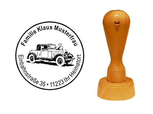 Stempel Holzstempel Motivstempel « AUTO OLDTIMER » Durchmesser ca. Ø 40 mm - mit persönlicher Adresse und Motiv - KFZ Kraftfahrzeug 20iger Jahre