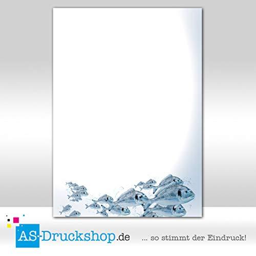 Designpapier Fisch - Fischkarte - Dorade / 50 Blatt/DIN A5 / 90 g-Offsetpapier