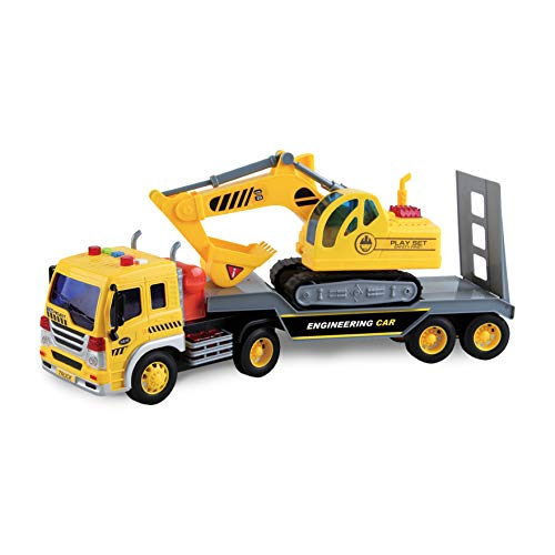 Long Haul Excavator Transport   Lights and Sounds Pull Back Toy Vehicle with Friction Motor   Realistic Construction Truck and Trailer for Kids  Maxx Action