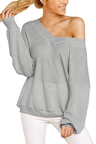 Viottiset Damska bluzka z dzianiny z dekoltem w kształcie litery V luźna koszulka z długim rękawem XL szara