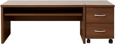[山善] ローデスク・袖机(2点セット) 幅90×奥行45×高さ43cm ワイド スライドレール(こぼれ止め) 引き出しA4ファイル対応 汚れ・傷に強い天板(配線用コード穴) 組立品 ウォルナット CLD-2P(WL) 在宅勤務