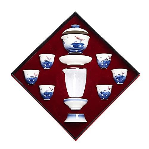 WQF Juego de Taza y platillo, Juegos de té para Adultos, 8 Juegos de Porcelana Azul y Blanca con grúa, Juego de té Chino, Taza de té de Porcelana Hecha a Mano, Servicio de té Gaiwan