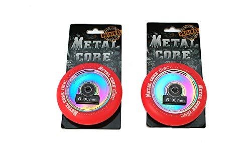 Metal Core Pack 2 Ruedas Rueda Disc para Scooter Freestyle, Diámetro 100 mm (Rojo)