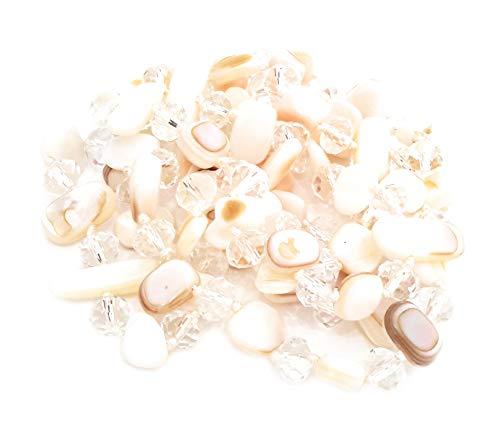 BRANDELIA Collares Largos de Colores Mujer Bisutería de Nácar y Perlas de Cristal, Blanco Beis