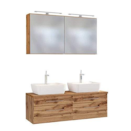 Pharao24 Doppel Waschtisch mit LED Spiegelschränken Wildeiche Dekor