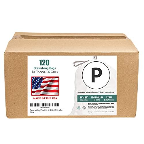 Tanner & Grey Code P Simple Human Compatible (120 Count) | Custom Fit Drawstring Trash Bags, 13-16 Gallon