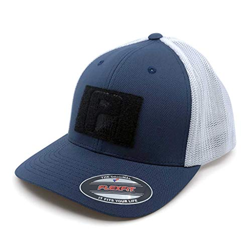 Pull Patch Tactical Hat | Flexfit Trucker Mesh Cap | Fitted, Curved Bill, Closed Back, Elastic Panels | Hook and Loop Patch Attachable | Navy Blue and White | Free US Flag Patch Included