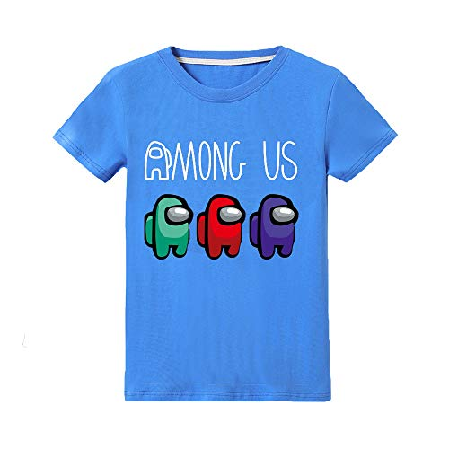 Camiseta Divertida para niños Among Us Gaming Impostor Character Niño Niña Camiseta Viral Gamer Top 5-13 años (Azul, 9-10 años)