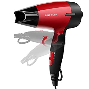 Aigostar Linda 32GQT - Secador de pelo de viaje diseño portátil. Doble voltaje. Mango plegable y 1400 watios de potencia. Dispone de 2 velocidades. Protección contra el sobrecalentamiento. Color rojo