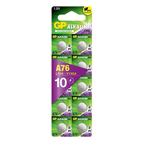 Pilas LR44 – AG13 – Lote de 10   GP Extra  Botón alcalino LR 44 A76 – Larga duración