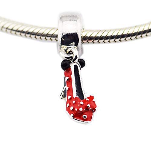 LISHOU DIY 925 Plata Esterlina Mouse Design Red Cartoon Christmas Set Best Friend Charm Beads Fit Pandora Pulsera Collar para Mujeres Joyería Que Hace Regalo