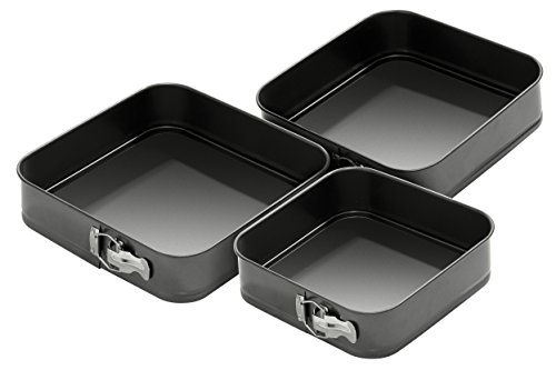 Premier Housewares Quadratische Springformen, 0,4 mm, antihaftbeschichtet, 24 / 26 / 28 cm, 3er-Set
