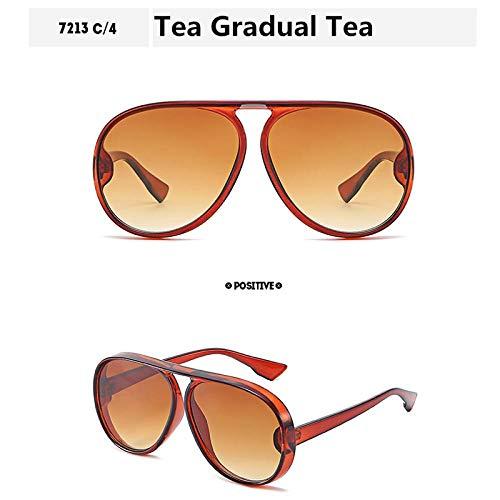 Gafas de Sol Sunglasses Gafas De Sol De Tortuga De Gran Tamaño Mujeres Hombres Gafas De Sol De Gran Vintage Gafas De Festival Retro Gafas De Gran Tamaño Uv400 Tea-Gr