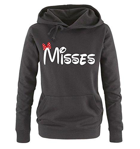 Comedy Shirts - Misses - Comic - Damen Hoodie - Schwarz / Weiss-Rot Gr. S