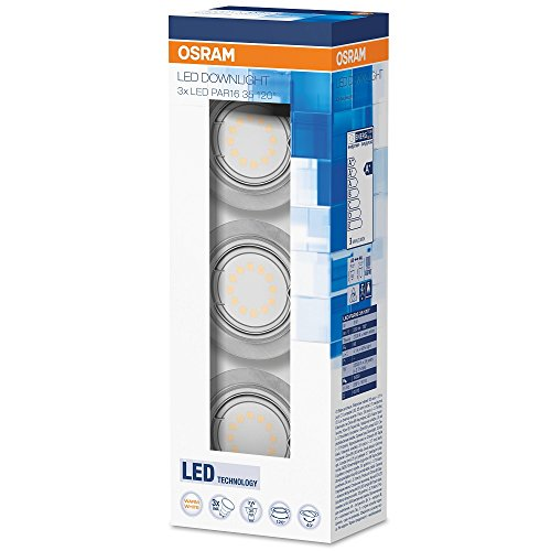 Osram LED-Spot, IVIOS, Einbauleuchte, nickel matt, schwenkbarer Kopf, Energieklasse A++ to A, 3x3Watt, Warmweiß-2700K