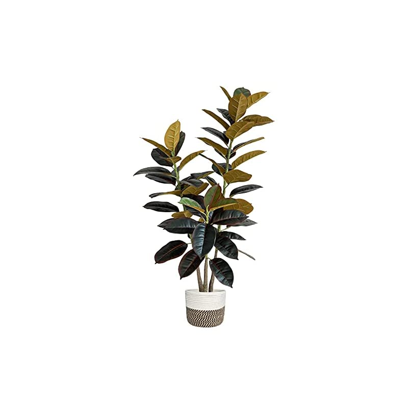 """silk flower arrangements besamenature 47"""" artificial rubber tree plant - ficus tree - faux tropical tree for home office decoration, red, with cotton rope basket"""