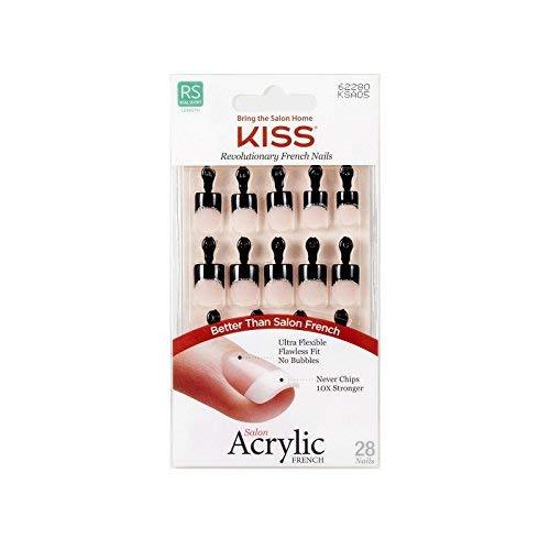 Kiss Salon Acrylic French 28 Nails Real Short Length KSA05 Simple Life Black Tip