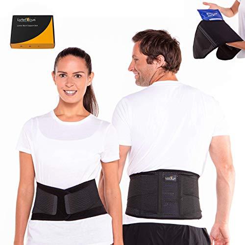 LyfeFocus Premium Adjustable Lower Back Support Belt for Men & Women -...