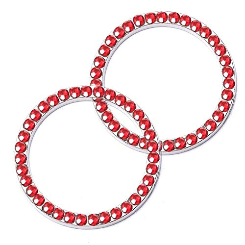 Pursuestar 2Pcs Red Bling Crystal Car Sticker Cover Ring Emblem, Interior Accessories for Car Engine Ignition Button Key ,Start Stop Switch, Knobs