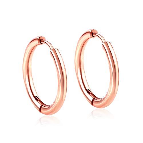 CQHUI Pendientes de aro para Mujer Oro/Oro de Rosa/Color Negro Círculo Redondo Anillo de Oreja Pendientes de Clip (Main Stone Color : 10mm, Metal Color : Rose Gold)