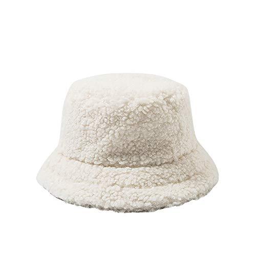 Frauen Bucket Hat Kunstpelz Fluffy Windproof Solid Sunbonnet Herbst Winter Casual Cap Damen Hut Weiche Flauschige Fischerhut Breite Krempe Fellmütze Warme Mütze für Mädchen