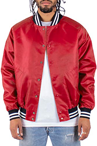 VBJ10_XL Shaka Stadium Baseball Varsity Bomber Jacket Red 1XL